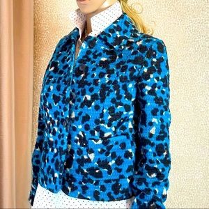 Missoni blue wool animal print short jacket
